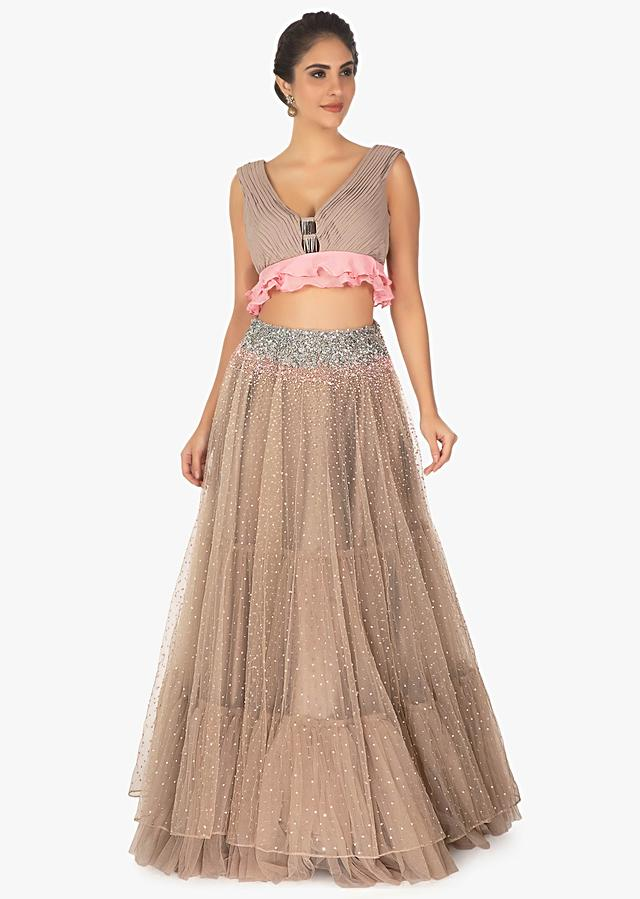 Adobe Brown Crop Top In Net Satin With Heavy Sequins Work Online - Kalki Fashion