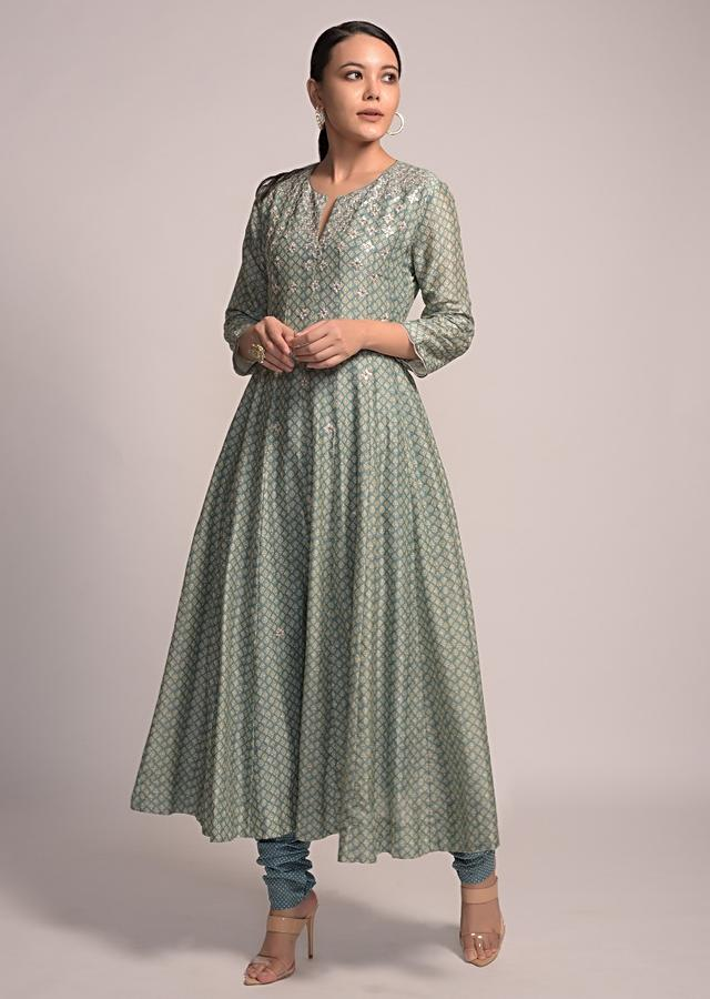 Airforce Blue Anarkali Suit In Cotton With Printed Buttis And Matte Sequins Embroidery Online - Kalki Fashion