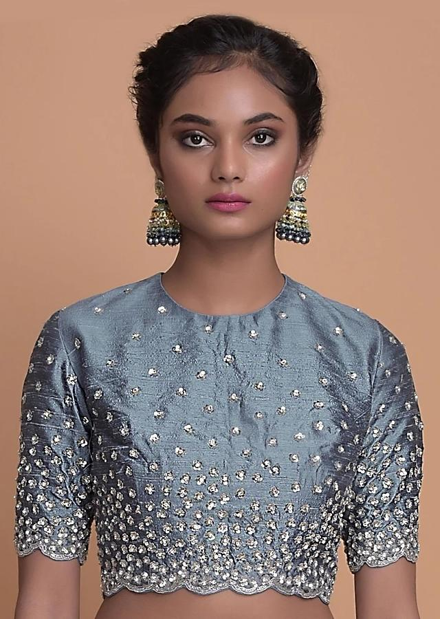Airforce Blue Blouse With Sequins And Kundan In Floral Buttis In Gradient Pattern Online - Kalki Fashion
