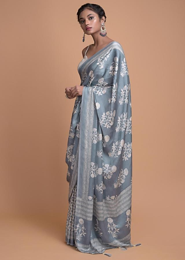 Airforce Blue Saree In Satin Silk In Half And Half Pattern With Floral Print Online - Kalki Fashion