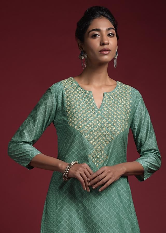 Airforce Blue Sharara Suit In Cotton Silk With Printed Moroccan Jaal And Cord Detailing On The Yoke Online - Kalki Fashion