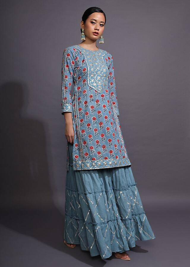 Airforce Blue Sharara Suit With Floral Printed Buttis And Gotta Patti Embroidered Yoke Online - Kalki Fashion