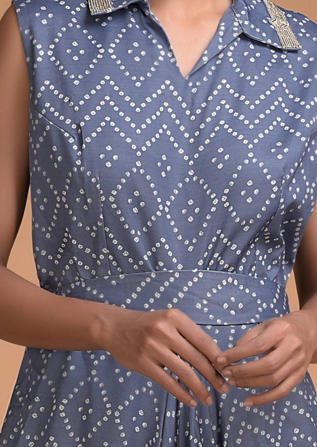 Airforce Blue Tunic Dress With Bandhani Print In Geometric Pattern And Cowl Details Online - Kalki Fashion