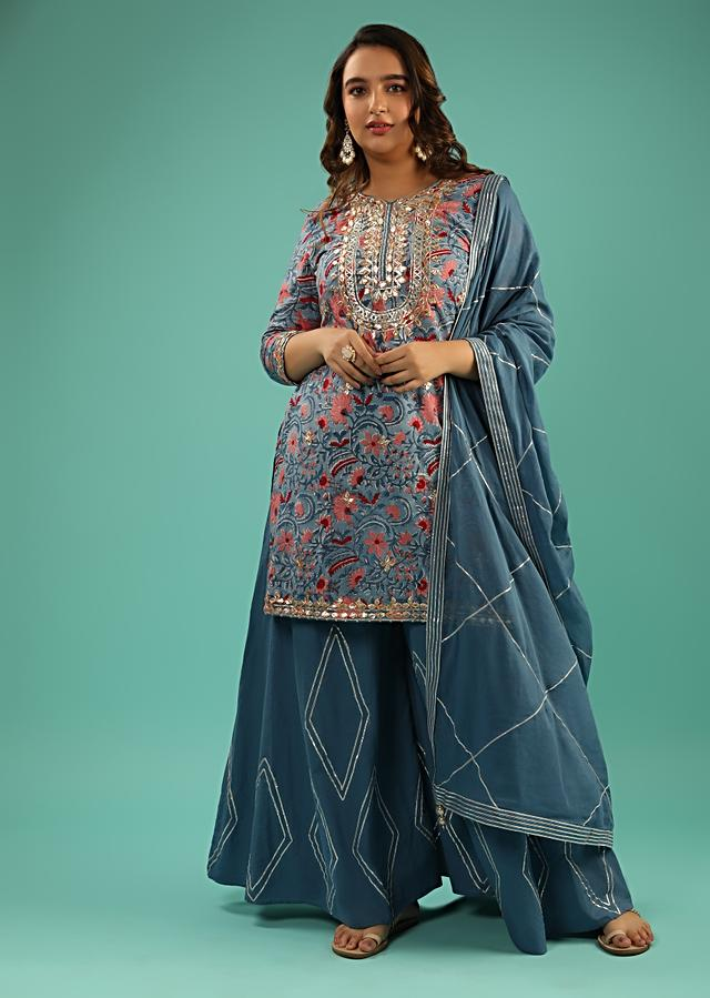 Airforce Blue Sharara Suit With Floral Print And Gotta Patti Embroidered Yoke Online - Kalki Fashion