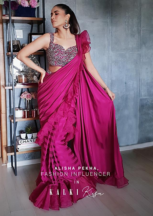 Alisha Pekha In Kalki Rani Pink Ready Pleated Striped Saree With Ruffles On The Border And A Heavily Embroidered Blouse