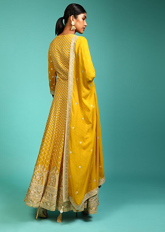 Amber Yellow Anarkali Suit With Resham Embroidered Mesh Design And Multi Colored Resham Embroidered Mughal Motifs On The Border Online - Kalki Fashion