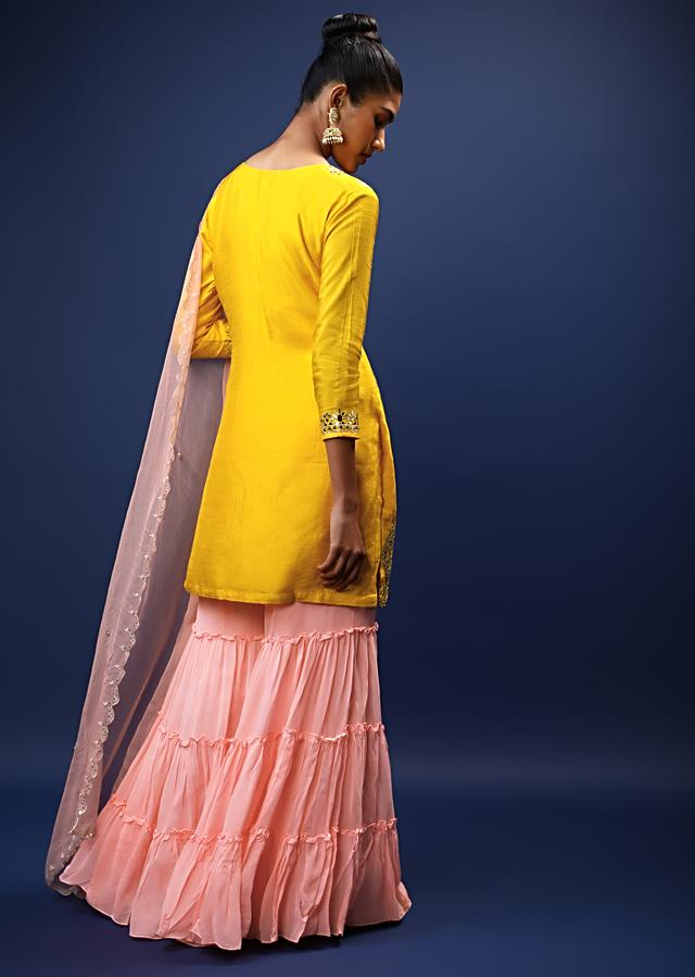 Amber Yellow And Peach Sharara Suit With Mirror And Gotta Patti Embroidered Buttis And Scalloped Border Online - Kalki Fashion