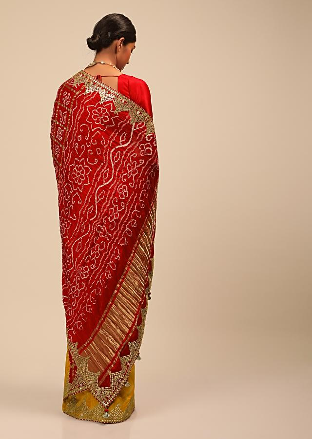 Amber Yellow And Red Half And Half Saree With Woven Zig Zag Stripes And Banghani Design On The Pallu Online - Kalki Fashion