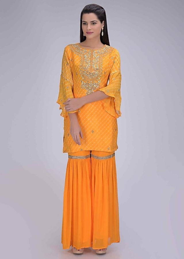 Amber Yellow Suit In Chiffon With Matching Sharara And Dupatta Online - Kalki Fashion