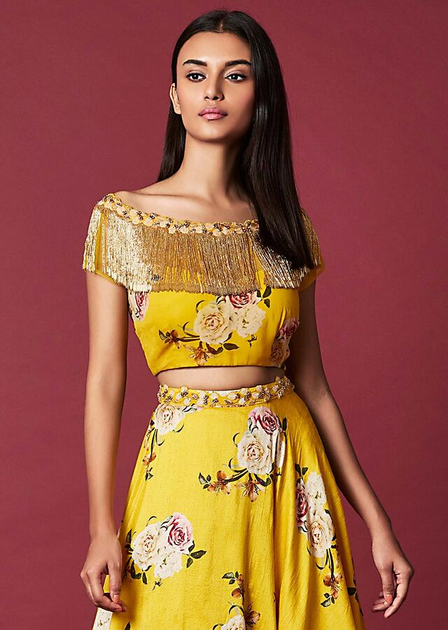 Amber Yellow Lehenga And Crop Top In Cotton Silk With Floral Print Online - Kalki Fashion