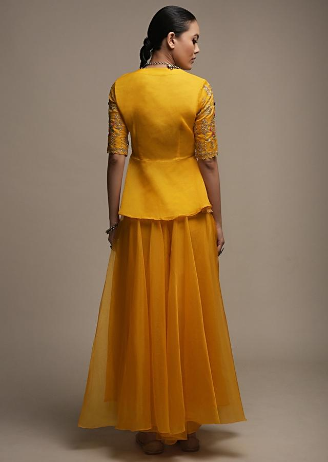 Amber Yellow Palazzo Suit In Organza With Matching Peplum Top Adorned In Zari And Thread Work Online - Kalki Fashion