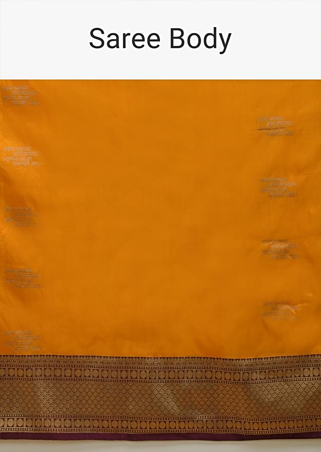 Amber Yellow Pure Handloom Saree In Silk With Woven Text Motifs And Purple Border Online - Kalki Fashion