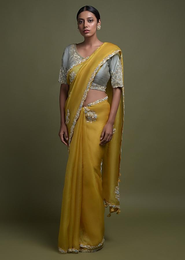 Amber Yellow Saree In Organza Silk Adorned With Bud Embroidered Floral Motifs Online - Kalki Fashion