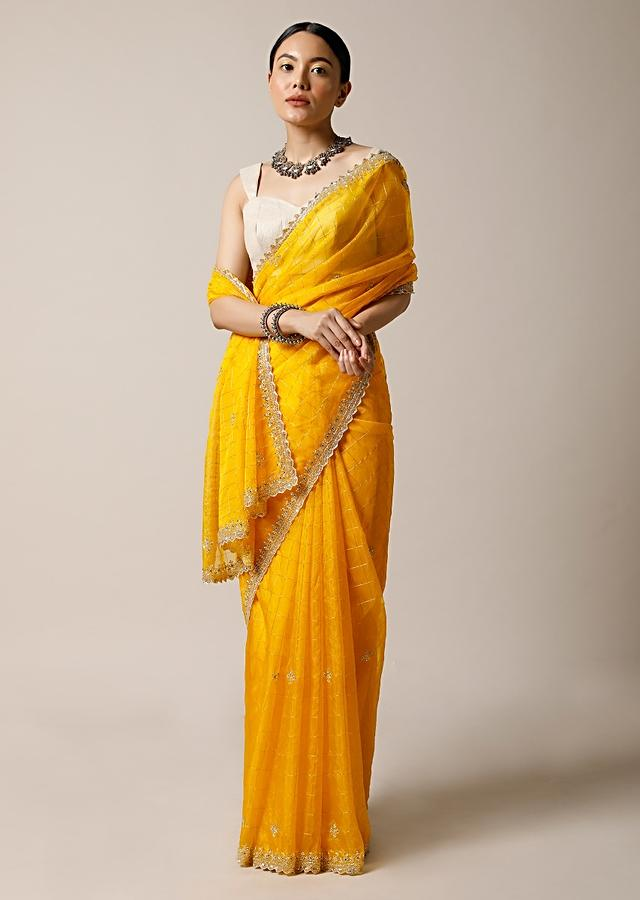 Amber Yellow Saree In Organza With Woven Checks And Cut Dana Embroidered Border Along With Unstitched Blouse Online - Kalki Fashion