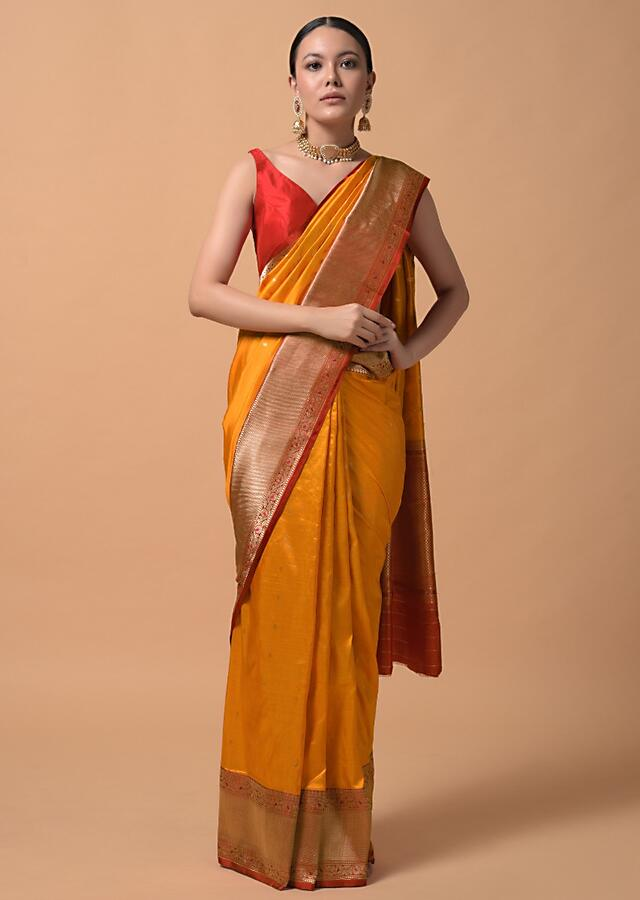 Amber Yellow Saree In Pure Handloom Silk With Woven Buttis And Red Floral Border Online - Kalki Fashion