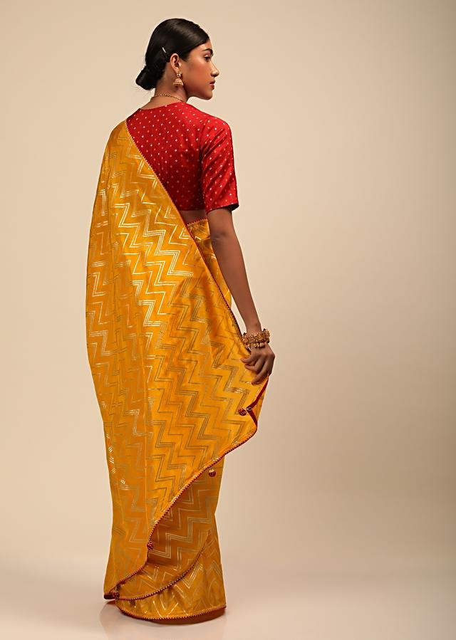 Amber Yellow Saree In Silk With Lurex Woven Chevron Design And Thin Border Along With Unstitched Blouse Online - Kalki Fashion