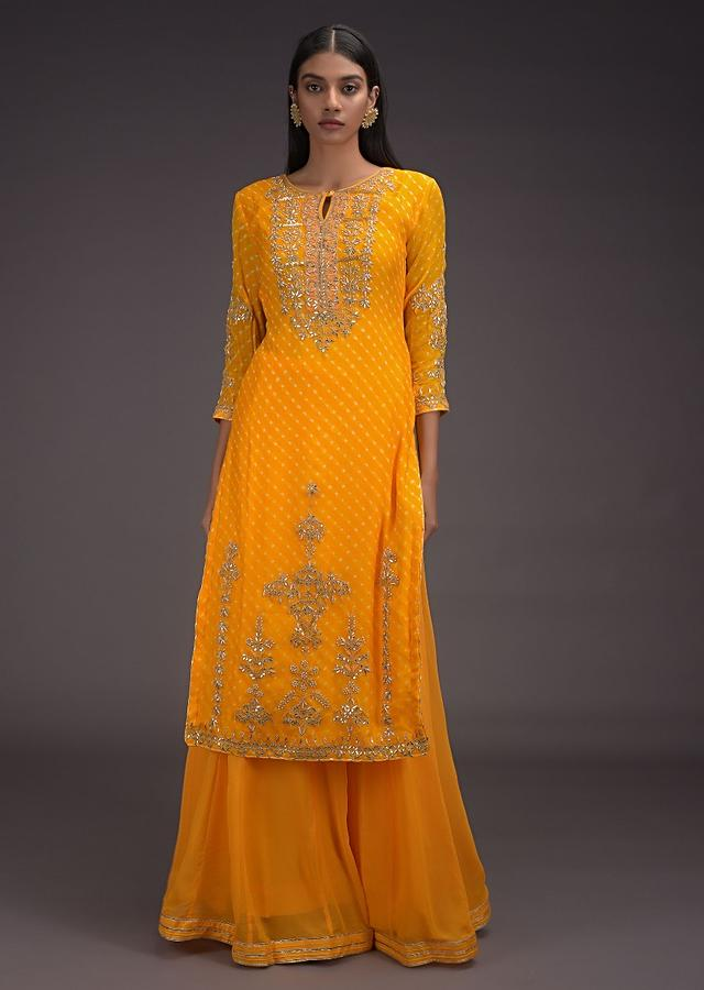 Amber Yellow Skirt And Kurta Set With Lehariya Print And Gotta Work In Floral Pattern Online - Kalki Fashion