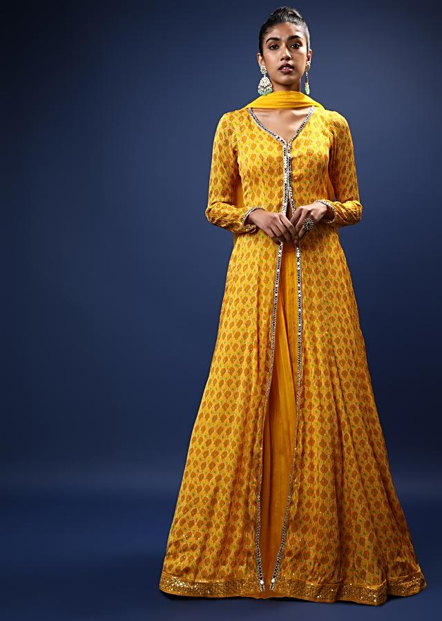 Amber Yellow Skirt And Long Slit Kurti With Jaal Print And Mirror Work On The Placket Online - Kalki Fashion
