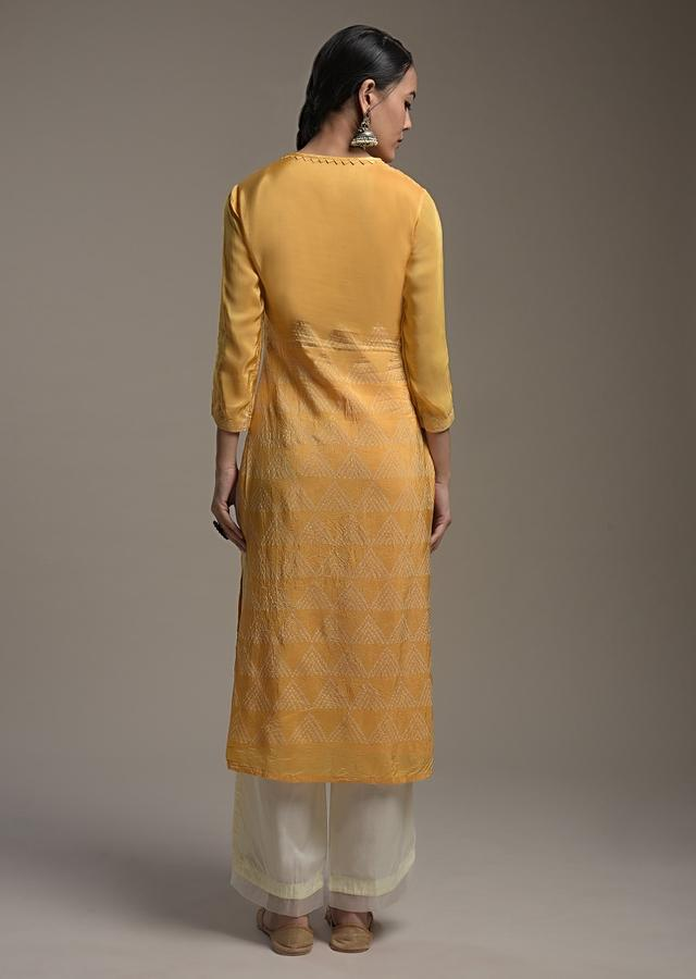 Amber Yellow Straight Cut Suit In Crushed Crepe With Bandhani Print And Sequin Accents Online - Kalki Fashion