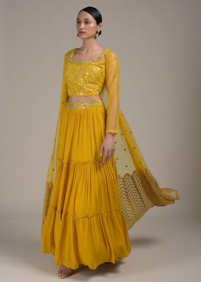 Amber Yellow Tiered Skirt And Crop Top Set With Mirror Work And Embroidered Jacket Online - Kalki Fashion