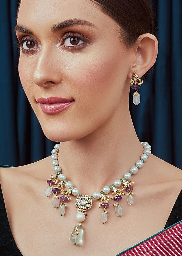 Amethyst Blue Kundan Necklace With Shell Pearls, Fluorides And Amethyst Beads Joules By Radhika