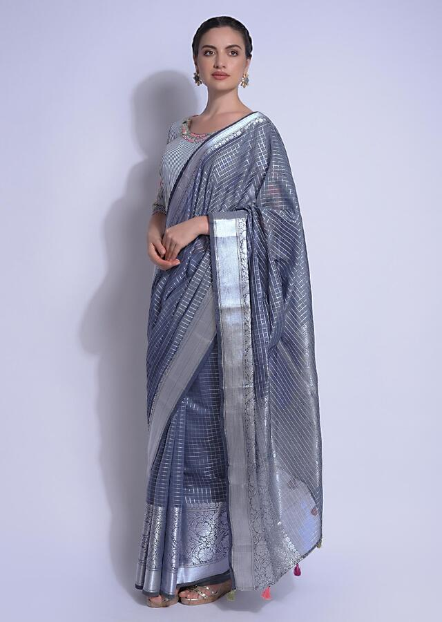 Anchor Grey Saree In Chanderi Silk With Weaved Checks And Floral Pattern Online - Kalki Fashion