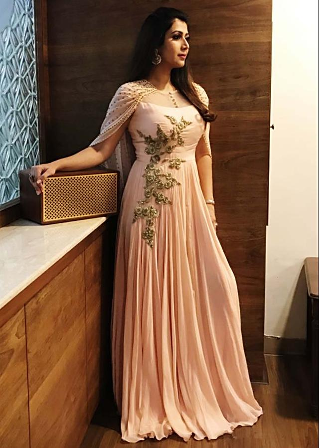 Ankita Bhargava in Kalki dull pink gown with embroidred bodice and fancy cape