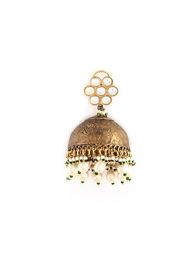 Antique Gold Jhumkas With Abstract Carvings, Kundan Embellished Floral Stud And Dangling Pearl Drops By Kohar