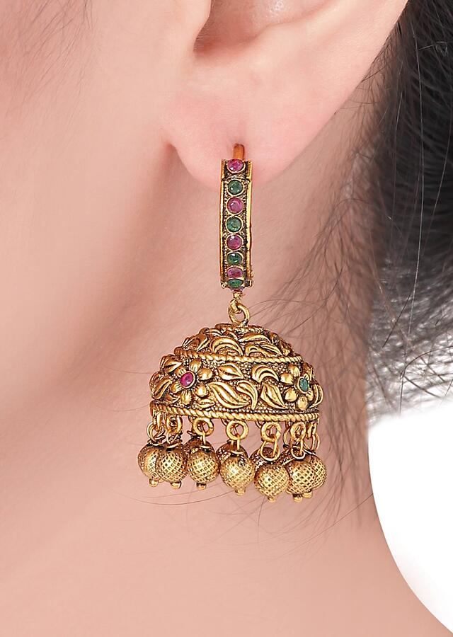 Antique Gold Plated Jhumkas Accented With Emeralds And Rubies Online - Joules By Radhika