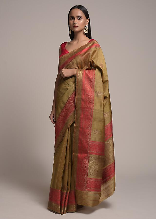 Antique Gold Pure Handloom Saree In Tussar Silk With Woven Red Border And Buttis Online - Kalki Fashion