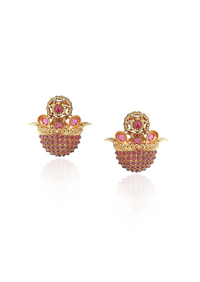 Antique Gold Plated Studs Adorned With Rubies Online - Joules By Radhika