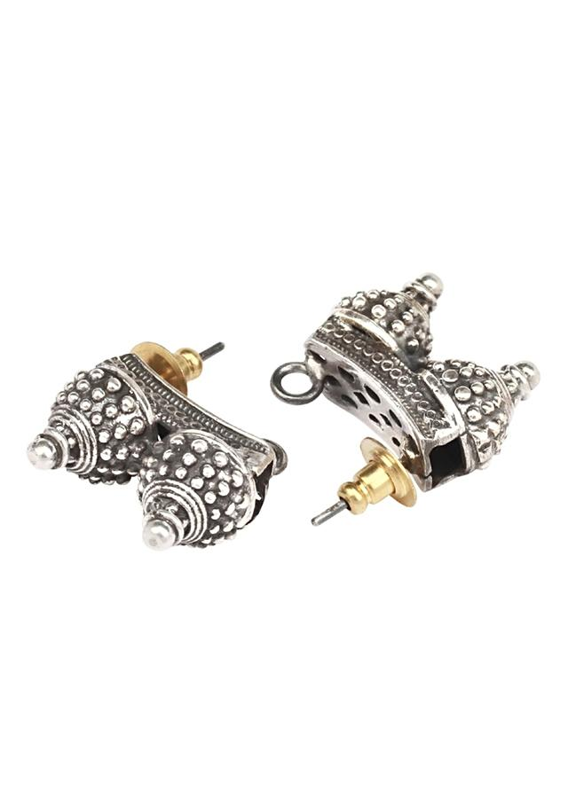 Antique Stud Earrings In Hand Crafted Double Dome Design Made In Sterling Silver By Sangeeta Boochra