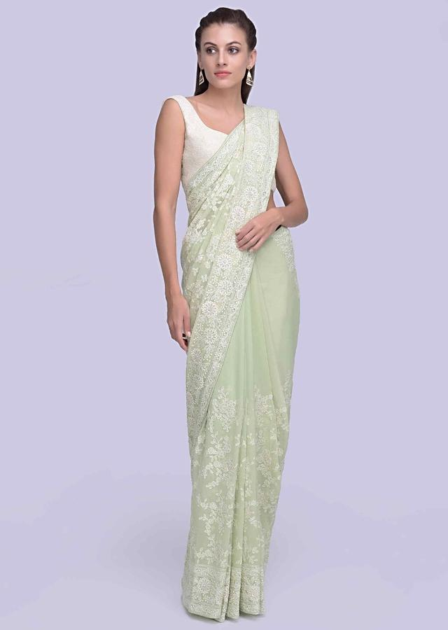 Apple green lucknowi embroidered georgette saree in alternate kali only on Kalki