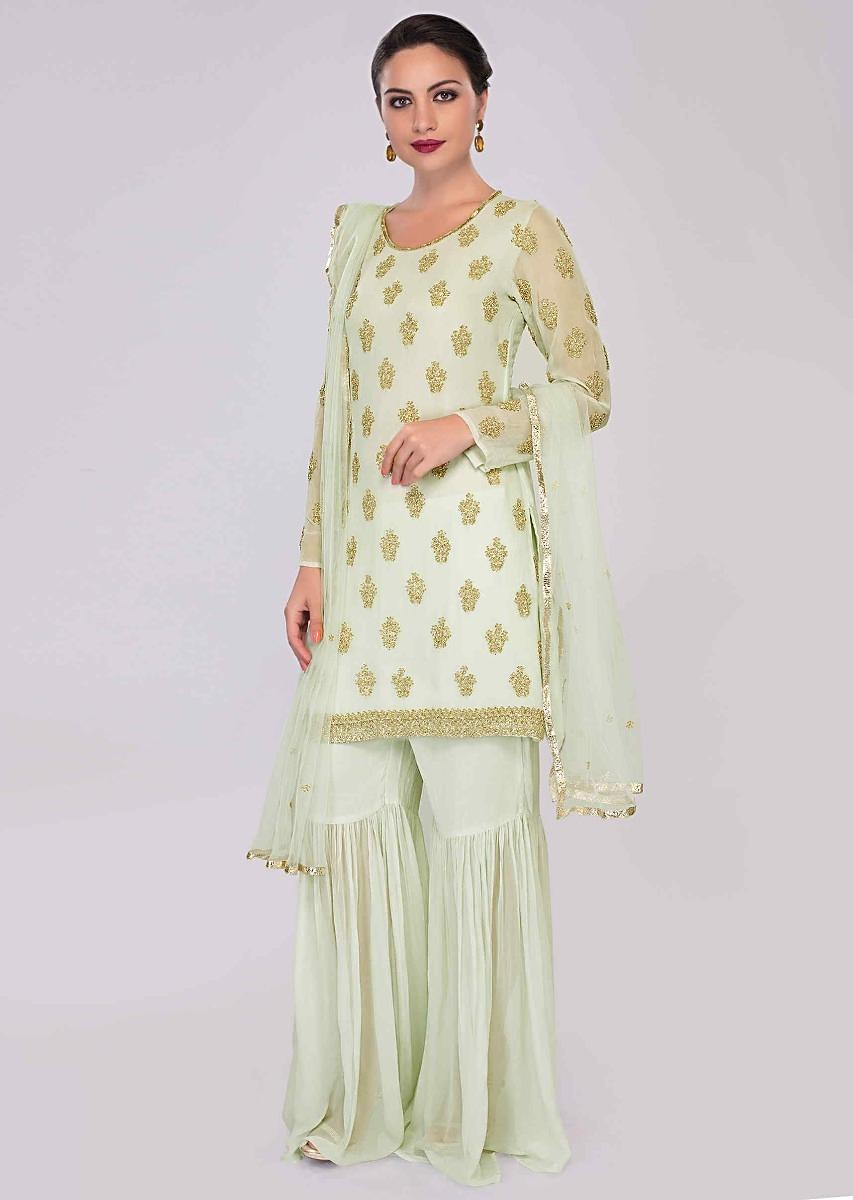 b6a3b69423 Apple green sharara suit set with embroidered butti only on KalkiMore Detail