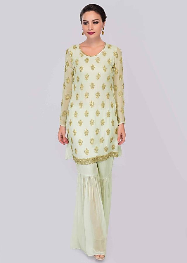 Apple Green Sharara Suit Set With Embroidered Butti Online - Kalki Fashion
