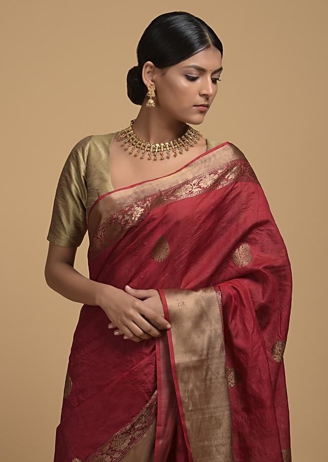 Apple Red Pure Handloom Saree In Tussar Silk With Woven Floral Buttis Online - Kalki Fashion