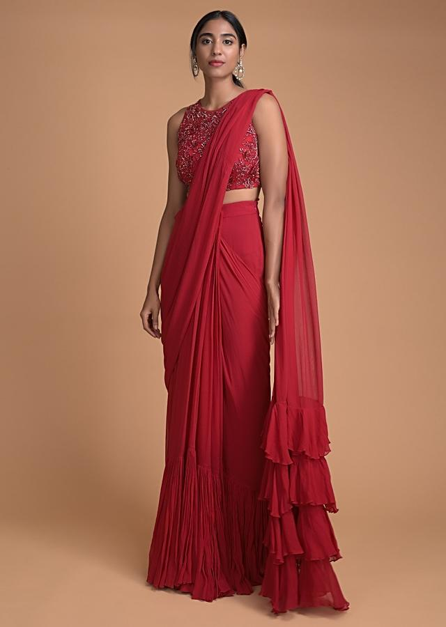 Apple Red Ready Pleated Ruffle Saree With 3D Flower Embellished Blouse  Online - Kalki Fashion