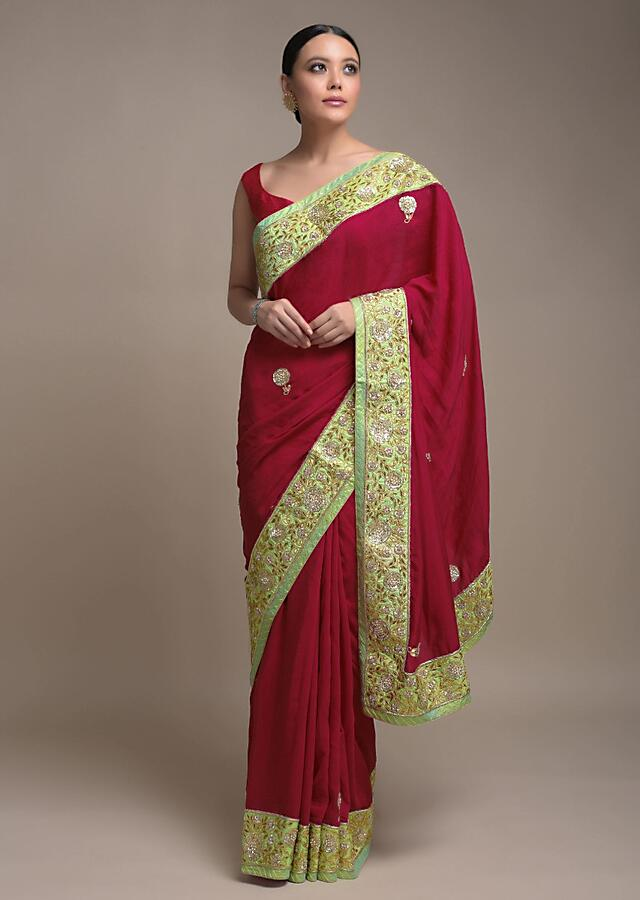 Apple Red Saree In Cotton With Gotta Patch And Pearl Embroidered Floral Buttis And Border Online - Kalki Fashion