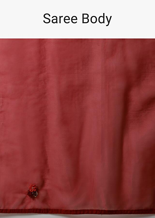 Apple Red Saree In Organza With Bud Embroidered Floral Buttis And Pallu Along With Unstitched Blouse Online - Kalki Fashion