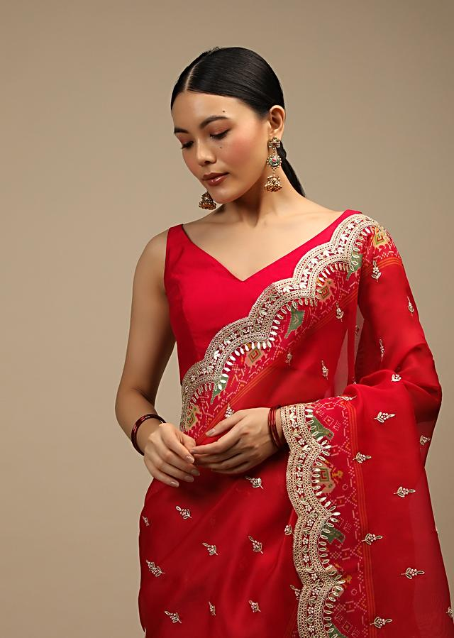 Apple Red Saree In Organza With Gotta Pati Embroidered Buttis And Scallop Border And Patola Printed Pallu Online - Kalki Fashion