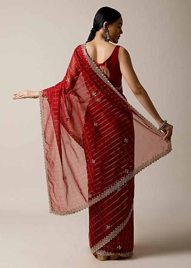 Apple Red Saree In Organza With Woven Checks And Cut Dana Embroidered Border Along With Unstitched Blouse Online - Kalki Fashion