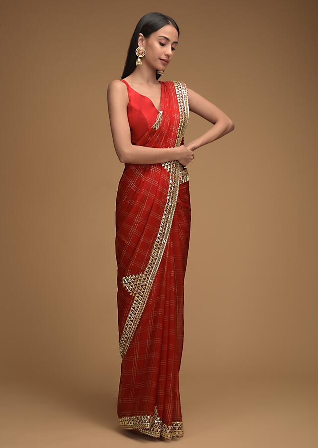 Apple Red Saree In Organza With Zari Woven Checks And Elaborate Gotta Patti Embroidered Border Along With Unstitched Blouse Online - Kalki Fashion