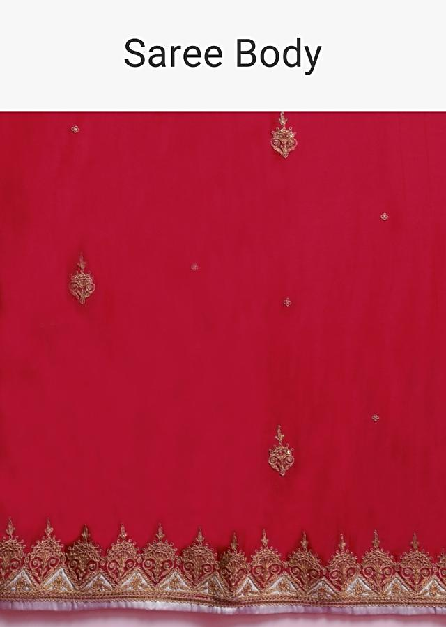 Apple Red Saree In Satin Blend With Zari Embroidered Border And Ice Blue Blouse Online - Kalki Fashion