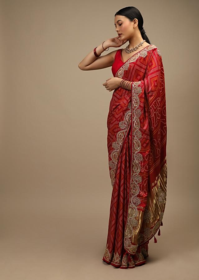 Apple Red Saree In Satin With Dot Print And Brocade Pallu Adorned In Gotta Patti Embroidered Ethnic Motifs Online - Kalki Fashion