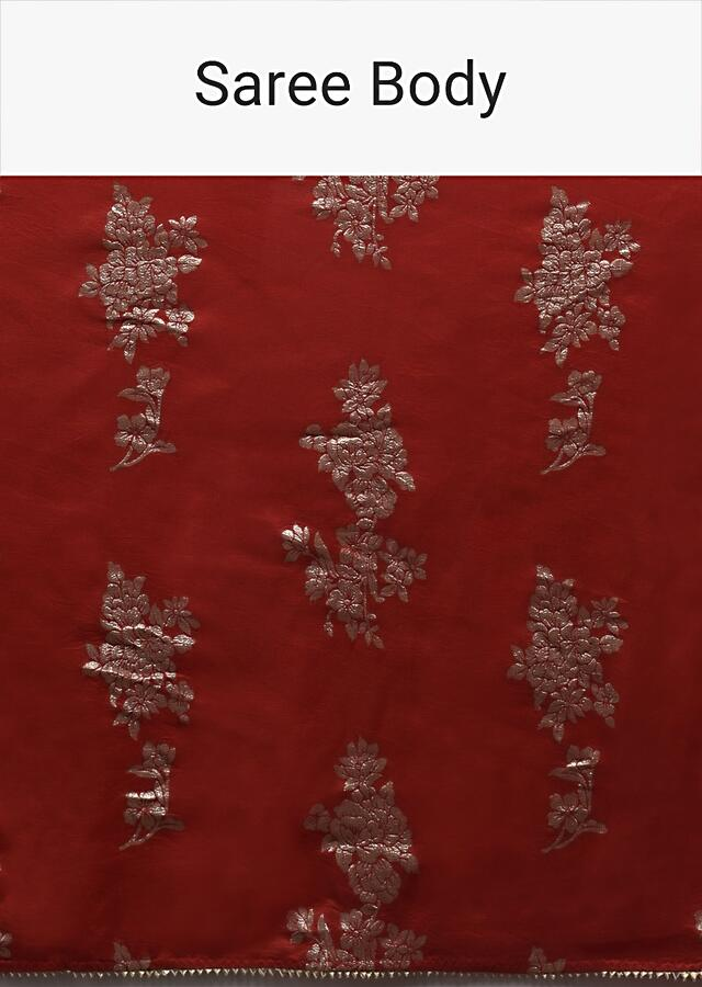 Apple Red Saree In Silk Blend With Weaved Floral Motifs In Repeat Pattern Online - Kalki Fashion