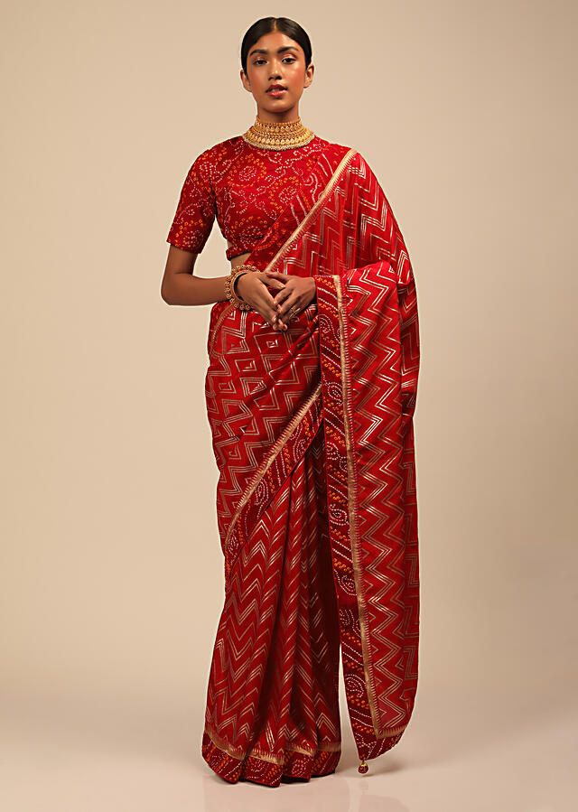 Apple Red Saree In Silk With Lurex Woven Chevron Design And Bandhani Border Along With Unstitched Blouse Online - Kalki Fashion