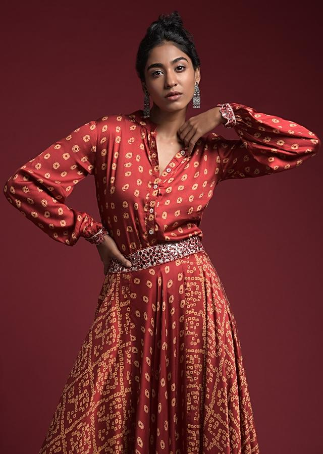Apple Red Skirt And Shirt Set In Satin Blend With Bandhani Print And Mirror Abla Highlights Online - Kalki Fashion