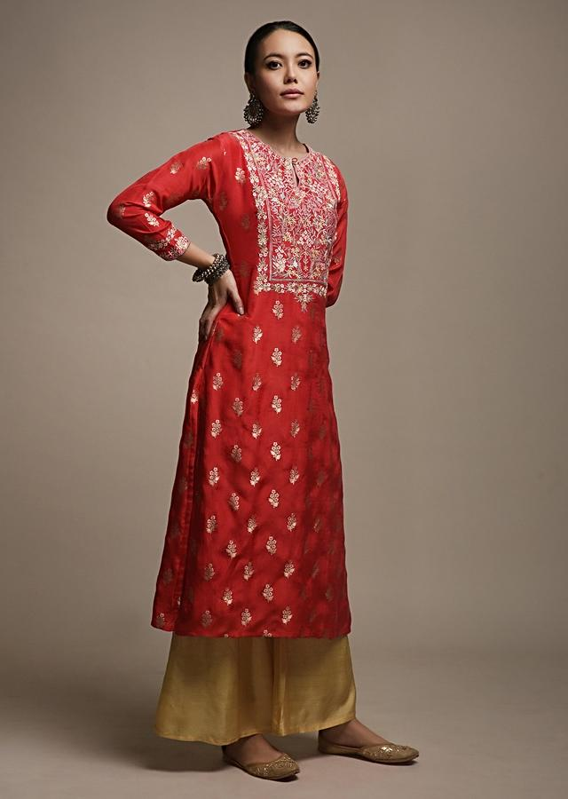Apple Red Straight Cut Kurti In Brocade Silk With Woven Floral Buttis And Colorful Resham Embroidered Yoke Online - Kalki Fashion