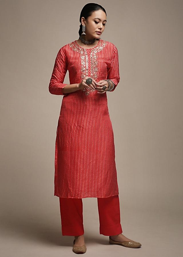 Apple Red Straight Cut Kurti In Crepe With Bandhani Print And Gotta Patti Embroidered Placket Online - Kalki Fashion