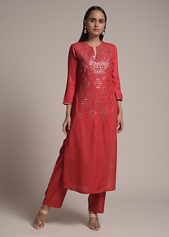 Apple Red Straight Cut Suit In Cotton Blend With Elaborate Abla Work In The Front Online - Kalki Fashion